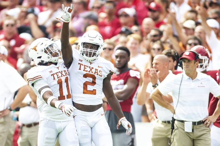 It's halftime, and No  19 Texas is leading No  7 Oklahoma
