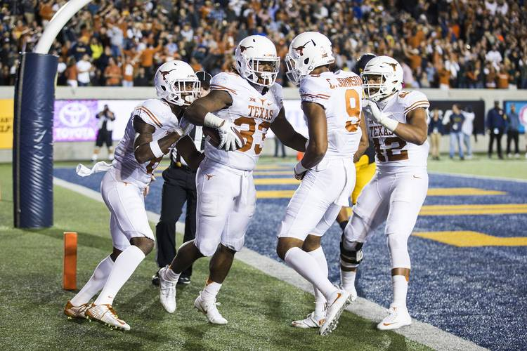 d716d1baf9a Texas Longhorns  33 D Onta Foreman celebrates touchdown against Cal Golden  Bears during the second half of a NCAA college football game