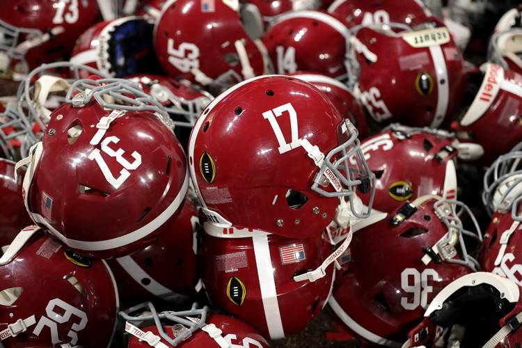 A detailed view of Alabama Crimson Tide helmets in a pile during the  celebration after the CFP National Championship at Mercedes-Benz Stadium on  January 8 841ac377e
