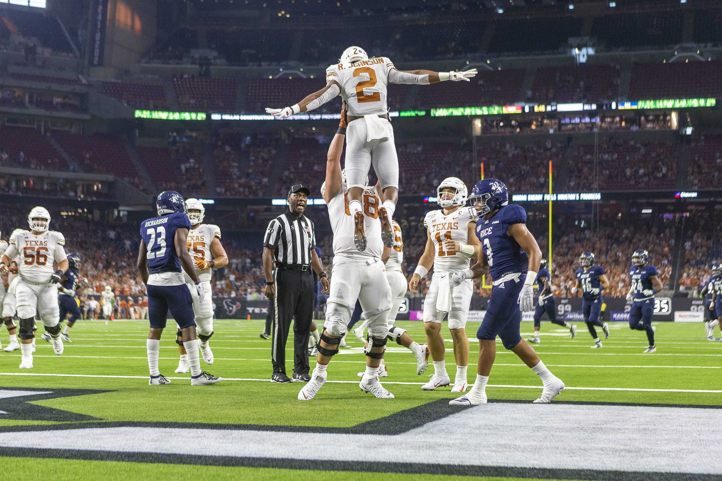 Texas is controlling, well, just about everything; Horns lead Rice at halftime, 31-0