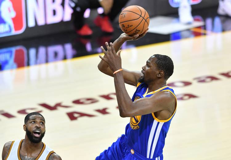 655af075bd4e Kevin Durant  35 of the Golden State Warriors attempts a jump shot against  the Cleveland Cavaliers in Game 4 of the 2017 NBA Finals at Quicken Loans  Arena ...